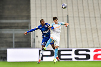 Hiroki Sakai of Marseille and Lebo Mothiba of Strasbourg during the French League Cup match between Marseille and Strasbourg at Stade Velodrome on December 19, 2018 in Marseille, France. (Photo by Alexandre Dimou/Icon Sport)