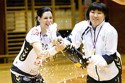 Alja Koren of Krim and Ljudmila Bodnjeva at last 10th Round handball match of Slovenian Women National Championships between RK Krim Mercator and RK Olimpija, on May 15, 2010, in Galjevica, Ljubljana, Slovenia. Olimpija defeated Krim 39-36, but Krim became Slovenian National Champion. (Photo by Vid Ponikvar / Sportida)