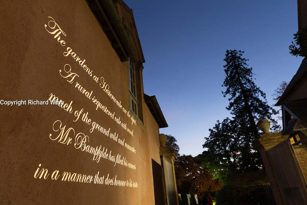 Projection of text onto the stable building. Part of the Illumina project by Ulf Pedersen at Hestercombe Gardens, Cheddon Fitzpaine, Somerset, England.
