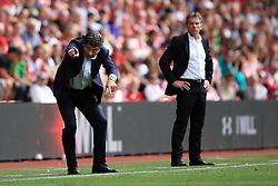 13 August 2016 - Premier League - Southampton v Watford - Walter Mazzarri manager of Watford (L) alongside Claude Puel manager of Southampton - Photo: Marc Atkins / Offside.