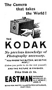 Advertisement for Kodak cameras from 'The Illustrated London News', 16 September 1893 including Kodak's famous slogan 'You press the button, we do the rest'. From 1888 the Kodak box camera took Eastman's coated paper roll film. Engraving