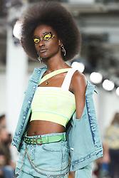 June 8, 2019, London, England, United Kingdom: Female model presents ICEBERG Spring/Summer 2020 collection during London Fashion Week Men's in the old Truman's Brewery. (Credit Image: © Dominika Zarzycka/NurPhoto via ZUMA Press)