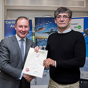 24.05.2018.       <br /> The Limerick Institute of Technology with Atlantic Air Adventures and funding from the Aviation Skillnet presented over forty certificates to Aviation professionals who have completed the Certificate in Aviation, The Aircraft Records Technician Level 7 and Part 21 Design, Level 7.<br /> <br /> Pictured at the event was Jim Gavin, The Irish Aviation Authority and Manager of the Dublin Football Team who presented, Michael Moore with their cert.<br /> <br /> LIT in partnership with Atlantic Air Adventures, CAE Parc Aviation, Part 21 Design and industry experts such as Anton Tams, GECAS, Don Salmon, CAE Parc Aviation and Mick Malone, Part 21 Design have developed and deliver these key training programmes with funding for aviation companies provided by The Aviation Skillnet.<br /> <br /> . Picture: Alan Place