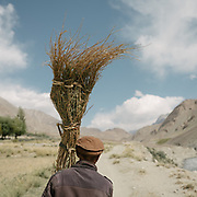 A man carrying a broom. The traditional life of the Wakhi people, in the Wakhan corridor, amongst the Pamir mountains.
