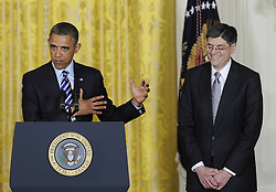 U.S. President Barack Obama (L) speaks while White House Chief of Staff Jacob Lew stands by during a nomination ceremony in the East Room of the White House in Washington D.C., capital of the United States, Jan. 10, 2012. U.S. President Barack Obama on Thursday picked White House Chief of Staff Jacob Lew as the next Treasury Secretary succeeding Timothy Geithner, a big step of shaping his economic team, January 10, 2013. Photo by Imago / i-Images...UK ONLY