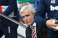Stoke City Manager Mark Hughes looks on prior to kick off. Premier league match, Everton v Stoke city at Goodison Park in Liverpool, Merseyside on Saturday 27th August 2016.<br /> pic by Chris Stading, Andrew Orchard sports photography.