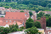 A view of St. Anne's Church/Sv Onos ba?ny?ia and St. Bernard's Church/Bernardinu ba?ny?ia from Gedimino Pilies Bokstas, Vilnius, Lithuania