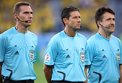Referees Peter Hermans, Frank De Bleeckere and Alex Verstraeten of Belgium before the UEFA EURO 2008 Group D soccer match between Sweden and Russia at Stadion Tivoli NEU, on June 18,2008, in Innsbruck, Austria. Russia won 2:0. (Photo by Vid Ponikvar / Sportal Images)