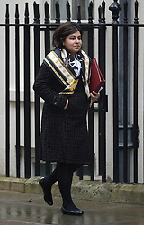 © London News Pictures. 26/02/2013. London, UK.   Baroness Warsi arriving on Downing Street for cabinet meeting. Photo credit: Ben Cawthra/LNP.