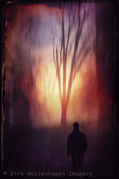 Man running into a blurry sunset - manipulated photograph