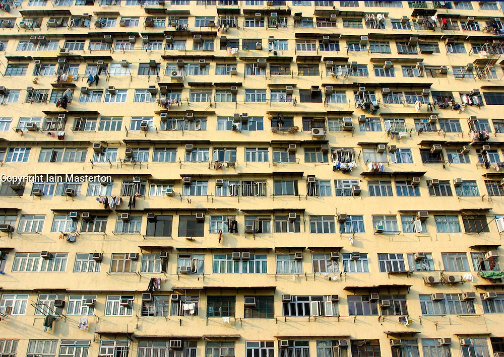 Very dense old apartment building in old district of Kowloon in Hong Kong