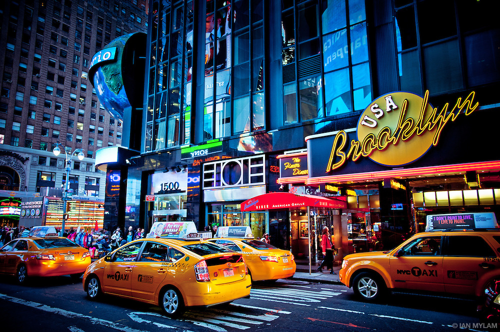 Taxis and Neon - New York City, U.S.A.