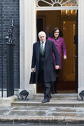 Downing Street, London, February 2nd 2016. Work and Pensions Secretary Iain Duncan-Smith is followed out of No 10 by Northern Ireland Secretary Theresa Villiers after attending the weekly Cabinet meeting. ///FOR LICENCING CONTACT: paul@pauldaveycreative.co.uk TEL:+44 (0) 7966 016 296 or +44 (0) 20 8969 6875. ©2015 Paul R Davey. All rights reserved.