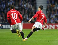 20090415: PORTO, PORTUGAL - FC Porto vs Manchester United: Champions League 2008/2009 – Quarter Finals – 2nd leg. In picture: Cristiano Ronaldo celebrating his goal with Rooney. PHOTO: Manuel Azevedo/CITYFILES