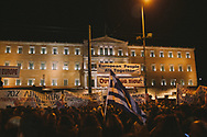A pro-Syriza government rally outside the national parliment in central Athens against austerity policies.