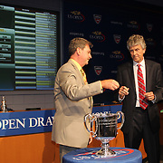 David A. Haggerty, First Vice President, (left) and US Open Tournament Referee Brain Earley conducting the 2013 US Open draw ceremony. Flushing. New York, USA. 22nd August 2013. Photo Tim Clayton