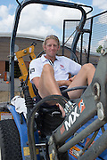 Caversham; Reading. GBR M4-. Andy TRIGGS HODGE. poses on the tractor GBRowing, World Championship Team Announcement at the GBR Training Base Berkshire  12:13:23  Thursday  17/07/2014   [Mandatory Credit; Peter Spurrier/Intersport-images]