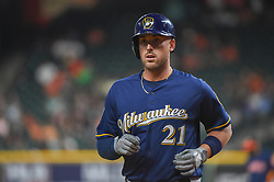 March 26, 2018 - Houston, TX, U.S. - HOUSTON, TX - MARCH 26: Milwaukee Brewers infielder Travis Shaw (21) heads for the dugout during the game between the Milwaukee Brewers and Houston Astros at Minute Maid Park on March 26, 2018 in Houston, Texas. (Photo by Ken Murray/Icon Sportswire) (Credit Image: © Ken Murray/Icon SMI via ZUMA Press)