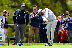 May 15, 2019 - Farmingdale, NY, U.S. - FARMINGDALE, NY - MAY 15:  Dustin Johnson of the United States of America practices on the second tee during the PGA Championship on May 15, 2019 at Bethpage State Park the Black Course in Farmingdale, NY.  (Photo by Rich Graessle/Icon Sportswire) (Credit Image: © Rich Graessle/Icon SMI via ZUMA Press)