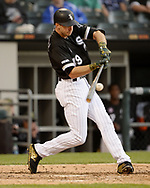 CHICAGO - MAY 18:  Ryan Cordell #49 of the Chicago White Sox bats against the Toronto Blue Jays on May 18, 2019 at Guaranteed Rate Field in Chicago, Illinois.  (Photo by Ron Vesely)  Subject:  Ryan Cordell