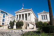 Exterior of the National Library of Greece, part of the architectural trilogy designed by Danish architect Theopil Hansen, Athens, Greece