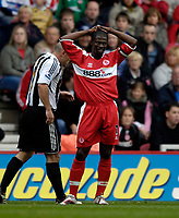 Photo: Jed Wee.<br /> Middlesbrough v Newcastle United. The Barclays Premiership. 22/10/2006.<br /> <br /> Middlesbrough's George Boateng rues a refereeing decision.