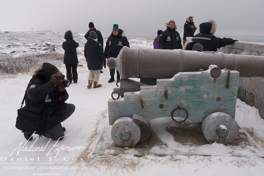Guests of Tundra Buggy Adventures explore the remains of Fort Prince of Whales. Cape Merry, of Churchill, Manitoba.