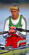 Sydney. AUSTRALIA, Women's, Olympic, Single Sculls Gold Medalist: Ekaterina [KHODOTOVICH] KARSTEN. Waits at the start settling and concentrating on the race ahead. 2000 Olympic Games - Olympic Regatta; Penrith, NSW. [Mandatory Credit: Peter Spurrier: Intersport Images] Sydney International Regatta Centre (SIRC) 2000 Olympic Rowing Regatta00085138.tif