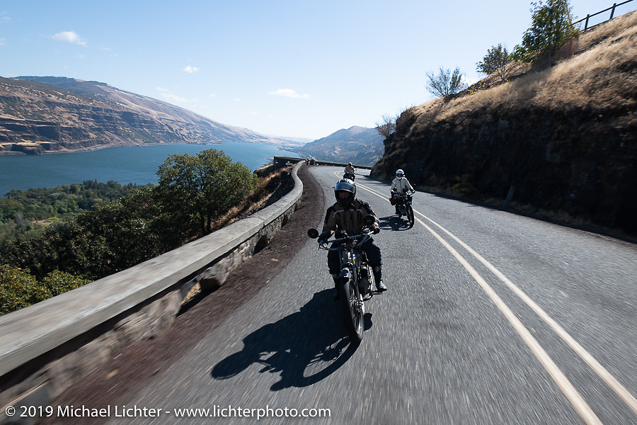 Loring Hill riding his 1916 Henderson 4-cylinder just ahead of Andrea Labarbara in the Motorcycle Cannonball coast to coast vintage run. Stage 15  (51 miles - the Grand Finish) from The Dalles to Stevenson, OR. Sunday September 23, 2018. Photography ©2018 Michael Lichter.