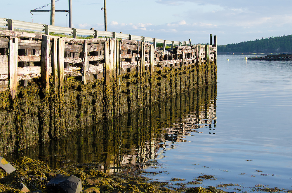 The Welshpool Wharf is reflected in calm waters at low tide, Campobello Island, New Brunswick.