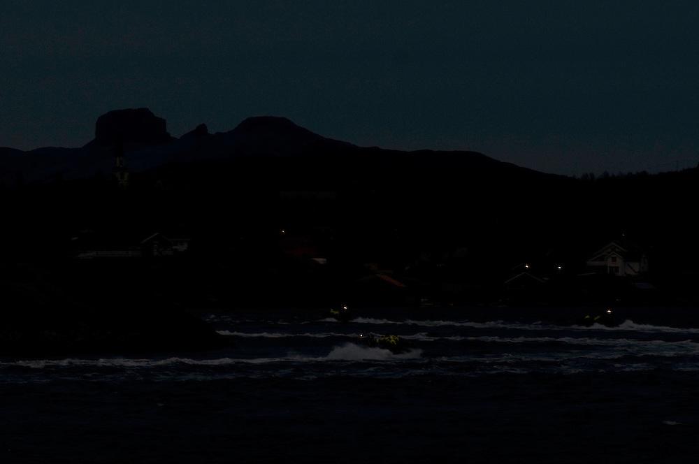 Saltstraumen at night.Atlantic marine life, Saltstraumen, Bodö, Norway