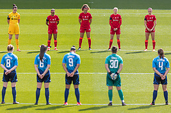 BIRKENHEAD, ENGLAND - Sunday, August 29, 2021: Liverpool and London City players hold a minute's silence before the FA Women's Championship game between Liverpool FC Women and London City Lionesses FC at Prenton Park. London City won 1-0. (Pic by Paul Currie/Propaganda)