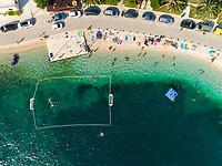 Aerial view of beach at Sumartin coastal line during the summer, Croatia.