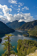 View of Diablo Lake in North Cascades National Park, Washington State, USA.  Photographed from the Diablo Lake lookout on the North Cascades Highway (SR 20).  The Diablo Lake tour boat Cascadian can be seen on Diablo Lake on the right.