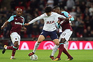 Son Heung-min of Tottenham Hotspur © fends off Edimilson Fernandes of West Ham United (r). EFL Carabao Cup, 4th round match, Tottenham Hotspur v West Ham United at Wembley Stadium in London on Wednesday 25th October 2017.<br /> pic by Steffan Bowen, Andrew Orchard sports photography.