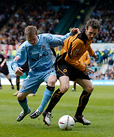 Photo. Glyn Thomas. <br /> Coventry City v Wolverhampton Wanderers.<br /> Coca Cola Championship. 16/04/2005.<br /> Coventry's Gary McSheffrey (L) battles for the ball with Wolves' Lee Naylor.