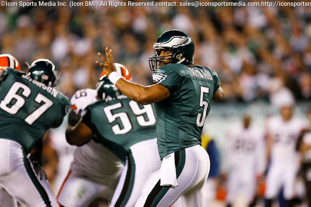 15 Dec 2008: Philadelphia Eagles quarterback Donovan McNabb #5 during the game against the Cleveland Browns on December 15th, 2008. The Eagles won 30-10 at Lincoln Financial Field in Philadelphia, Pennsylvania