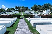 White limestone crypts in  Pembroke Parish cemetery, Bermuda.