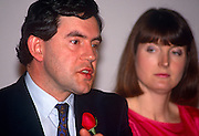 Future Prime Minister Gordon Brown and Harriet Harman seen during the 1991 European election manifesto launch