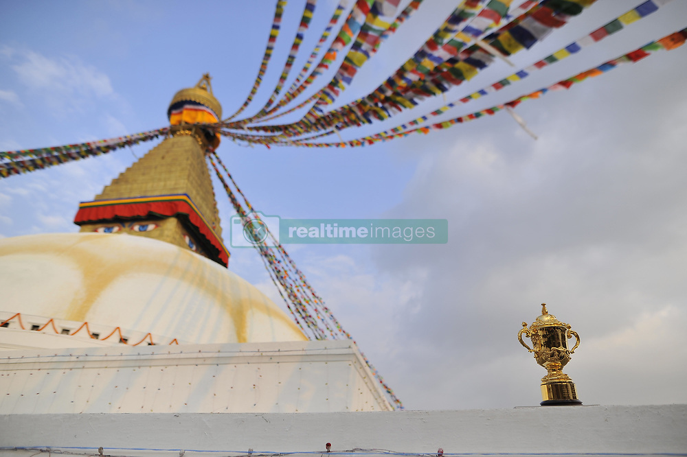 December 7, 2018 - Kathmandu, Nepal - The Webb Elllis Rugby World Cup 2019 Trophy is pictured infront Boudhanath Stupa, UNESCO World heritages site during a country tour in Kathmandu, Nepal on Friday, December 07, 2018. The 2019 Rugby World Cup will be the ninth Rugby World Cup, and is to be hosted by Japan from 20 September to 2 November, 2019. (Credit Image: © Narayan Maharjan/NurPhoto via ZUMA Press)