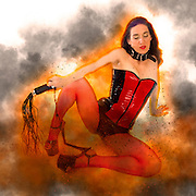Digitally enhanced image of a Woman aged 30 in red and black latex. Sitting on ground holding a leather whip. on white background Model Released