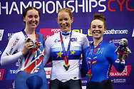 Podium, Women Omnium, Kirsten Wild (Netherlands) gold medal, Katie Archibald (Great Britain) silver medal, Letizia Paternoster (Italy) bronze medal, during the Track Cycling European Championships Glasgow 2018, at Sir Chris Hoy Velodrome, in Glasgow, Great Britain, Day 5, on August 6, 2018 - Photo luca Bettini / BettiniPhoto / ProSportsImages / DPPI<br /> - Restriction / Netherlands out, Belgium out, Spain out, Italy out -