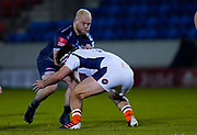 Sale Sharks hooker Akker Van Der Merwe  runs at the Edinburgh Rugby defence during the European Champions Cup match Sale Sharks -V- Edinburgh Rugby at The AJ Bell Stadium, Greater Manchester,England United Kingdom, Saturday, December 19, 2020. (Steve Flynn/Image of Sport)