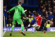 Tiemoue Bakayoko of Chelsea crosses the ball into the box as Eric Bailey of Manchester Utd tries to block him .Premier league match, Chelsea v Manchester United at Stamford Bridge in London on Sunday 5th November 2017.<br /> pic by Andrew Orchard sports photography.