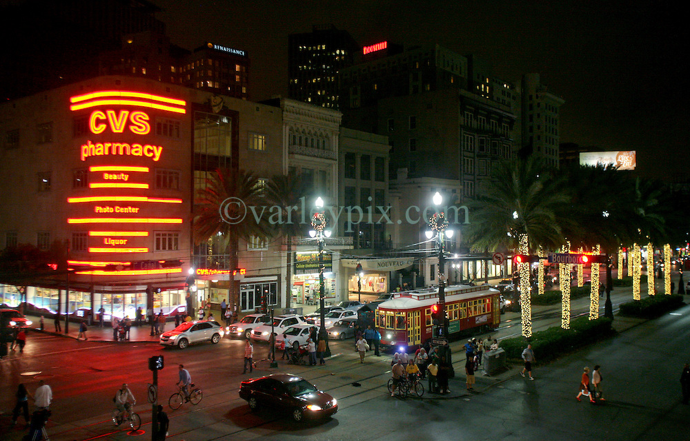 22 Nov 2011. New Orleans, Louisiana, USA.  <br /> Christmas lights on Canal Street as the street cars roll by disgorging tourists at the Bourbon Street stop.<br /> The lighting ceremony from the Astor Crowne Plaza.<br /> Photos; Charlie Varley