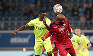 Stallone Limbombe (Gent) and Jimmy Briand (Bordeaux) fight for the ball during the first leg of the Uefa Europa League play-off match between Kaa Gent and Girondins de Bordeaux on August 23, 2018 in Ghent, Belgium, Photo Vincent Van Doornick / Isosport / Pro Shots / ProSportsImages / DPPI