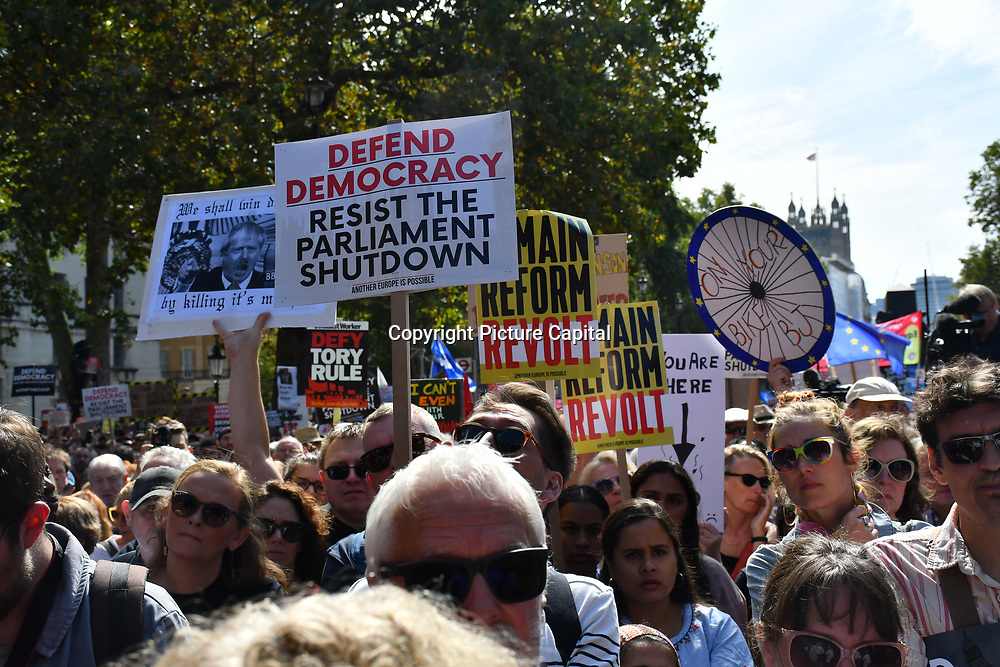 Thousands attends to Stop The Coup, defend democracy - protest at Downing Street, will its be a coup like in HK protest? on 31 August 2019, London, UK