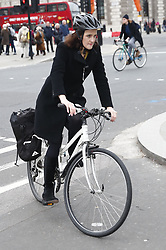 © Licensed to London News Pictures. 26/11/2018. London, UK. Theresa Villiers arrives at Parliament by bicycle. Prime Minister Theresa May will update the House of Commons later on the EU withdrawal deal agreed by the 27 member states at the weekend. Photo credit: Peter Macdiarmid/LNP