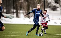 Fotball<br /> Tippeligaen Treningskamp<br /> Nadderud .13.04.14.15<br /> Stabæk - Fredrikstad<br /> Eirik Haugstad foran Steffen Nystrøm<br /> <br /> <br /> Foto: Eirik Førde