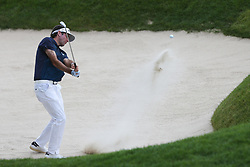 June 21, 2018 - Cromwell, Connecticut, United States - CROMWELL, CT-JUNE 21: Bubba Watson hits out of a greenside bunker on the 18th green during the first round of the Travelers Championship on June 21, 2018 at TPC River Highlands in Cromwell, Connecticut. (Credit Image: © Debby Wong via ZUMA Wire)
